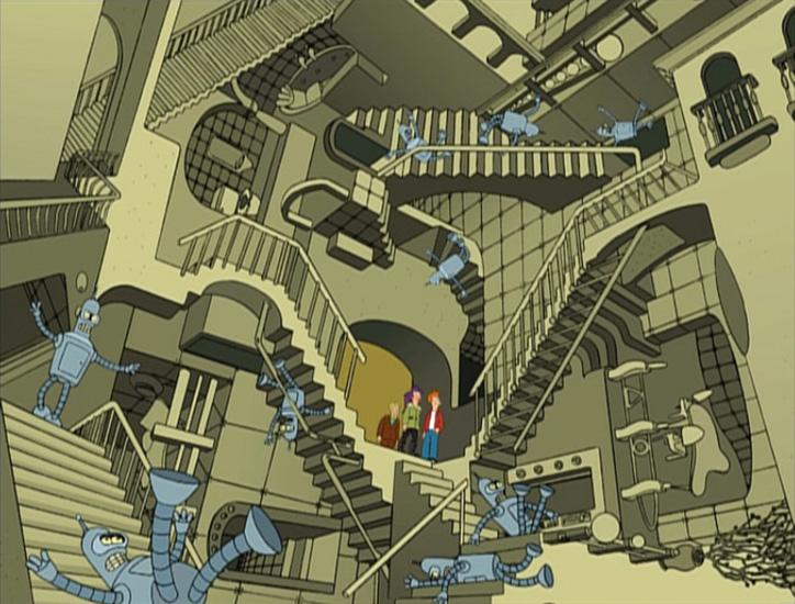 Perspectivas imposibles de m c escher en los tebeos for Escaleras que suben y bajan